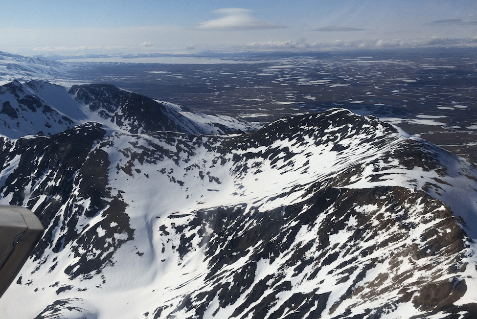 Flying over the Kigluaik Mountains. Photo: Jenn Ruckel, KNOM.