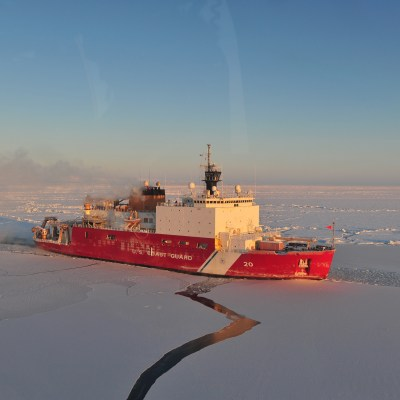 The Coast Guard Cutter Healy breaks ice in the Nome Harbor Jan. 13, 2012. Photo: U.S. Coast Guard.