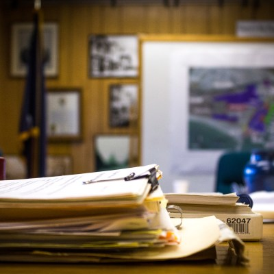Papers in Nome City Council chambers