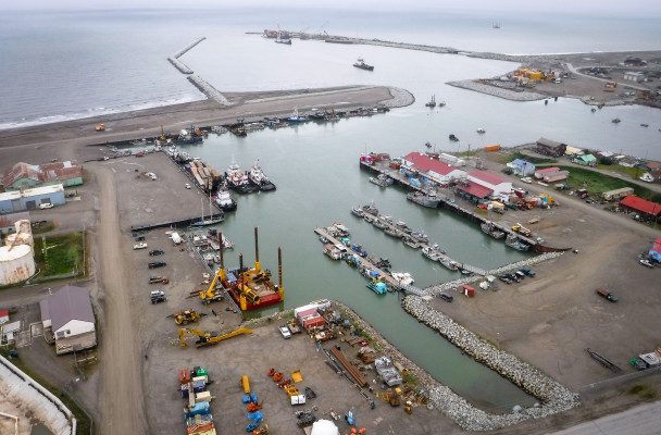 Aerial view of Nome's port. Photo: Joy Baker, City of Nome.