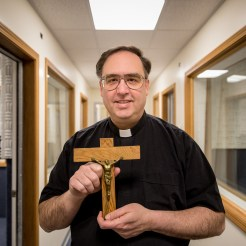 April 2015: Father Ross with Diomede Crucifix