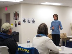 At Unalakleet's Community Hall, Sen. Lisa Murkowski meets with local leaders on Friday. Photo: Laura Kraegel, KNOM.