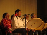 Drummers and singers perform from the Barrow Dance Group. Photo: Laura Kraegel, KNOM.