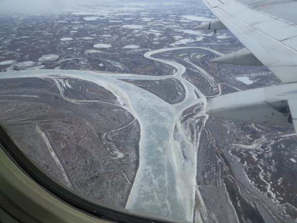 A view of the frozen Kuskokwim River. (Photo: Laura Kraegel, KNOM)