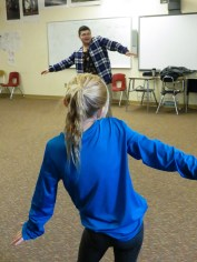 """A fan learns dance moves from Bialy during an """"Up Close and Personal"""" session at the 2016 Cama-i Dance Festival in Bethel. (Photo: Maddie Winchester, KNOM)"""
