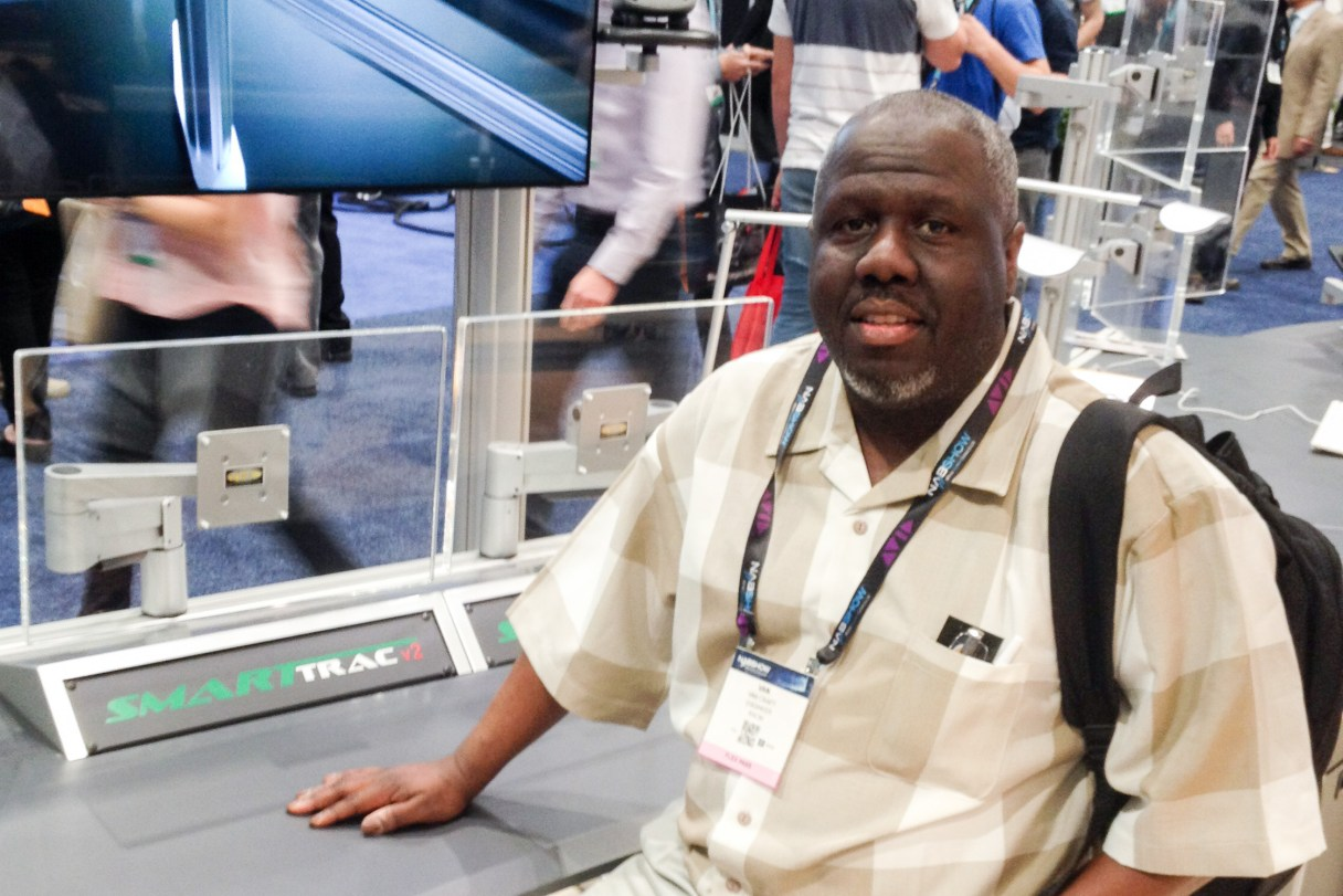 KNOM engineer Van Craft helps survey equipment for our digital studios project at the 2016 conference of the National Association of Broadcasters. Photo: Ric Schmidt, KNOM.