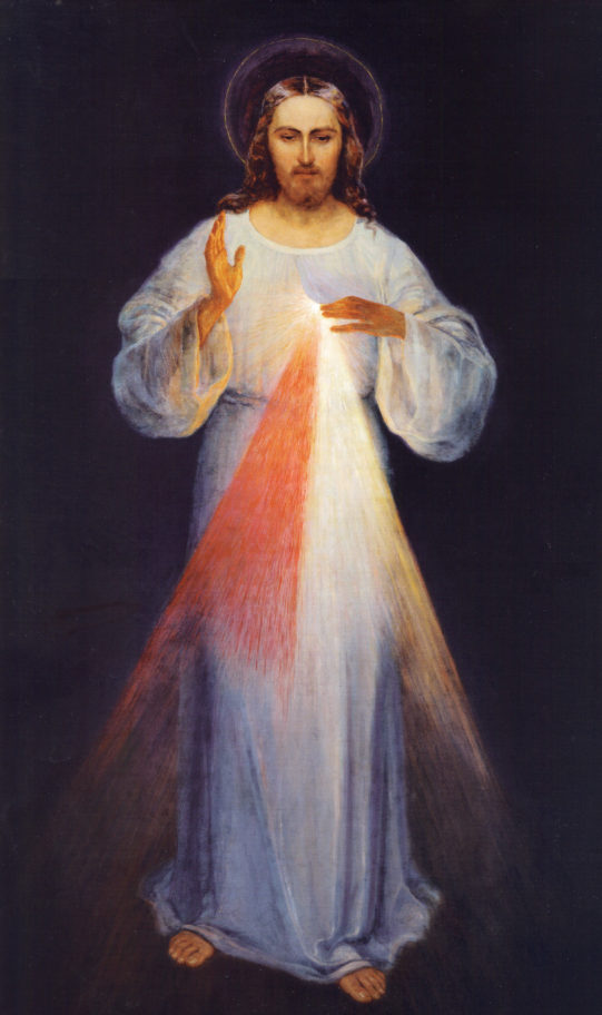 The Painting of Divine Mercy, originally created by Eugeniusz Kazimirowski in 1934 under the direct guidance of St. Maria Faustina Kowalska, whose visions were the foundation for the Chaplet of Divine Mercy prayers.