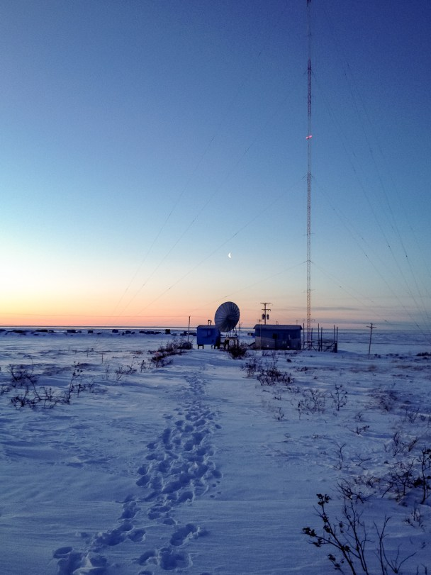 KNOM's AM transmitter site, on the snowy tundra a few miles outside Nome.