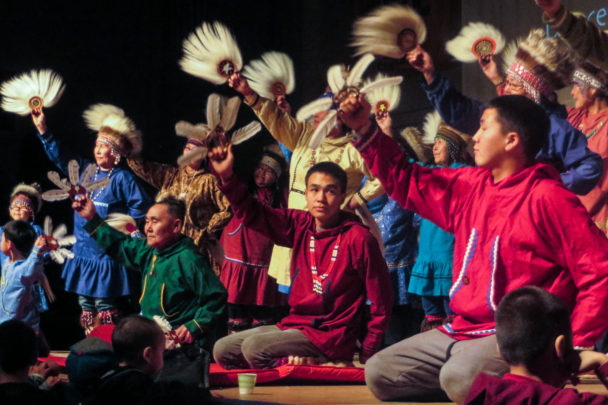 Alaska Native dancers perform on the mainstage at the Cama-i Dance Festival