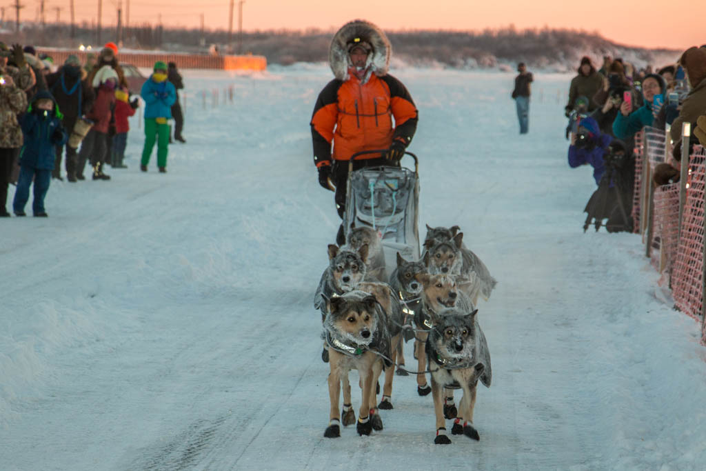 Pete Kaiser and his dog team approach the 2017 Kuskokwim 300 finish line