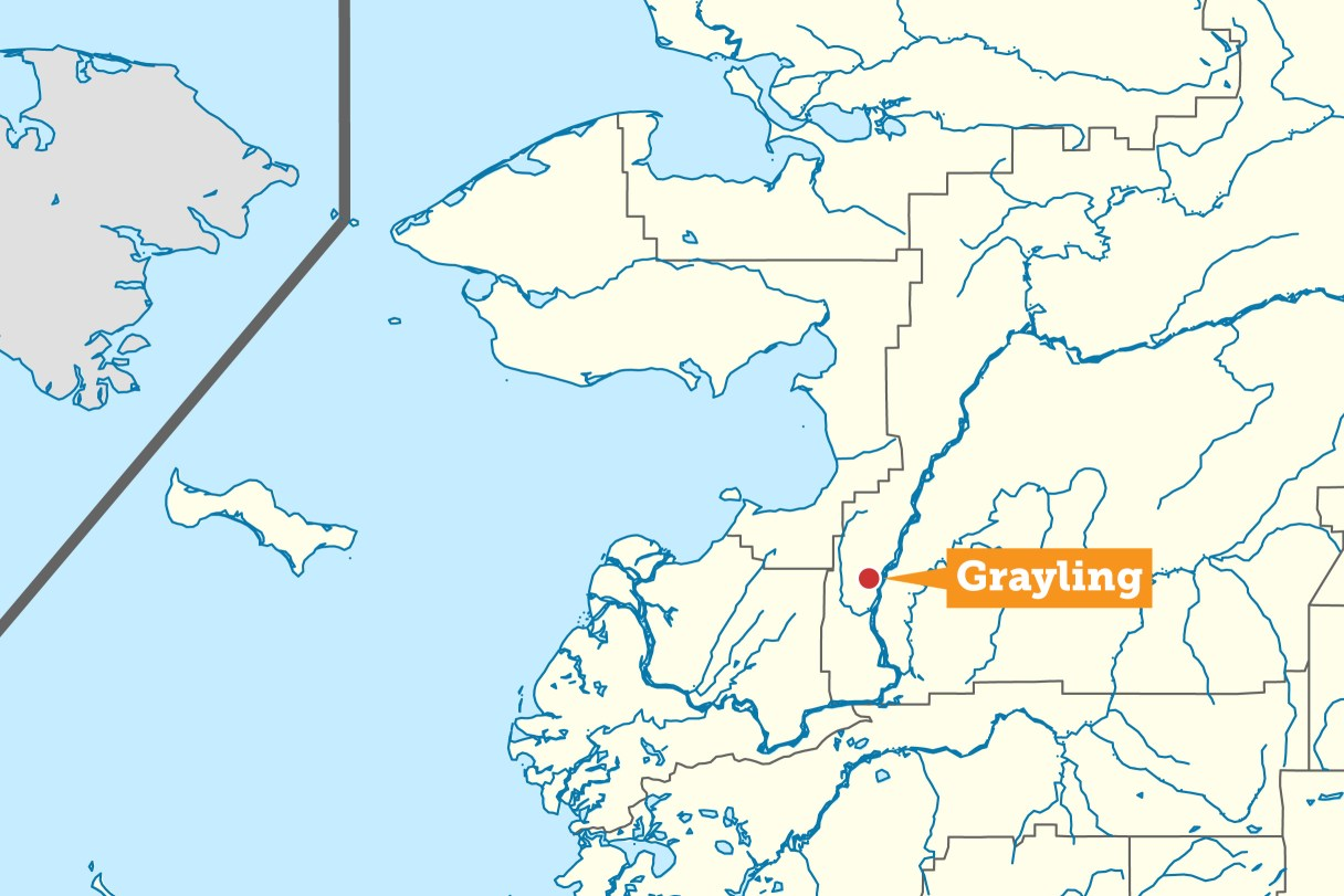 Map showing the location of Grayling, Alaska