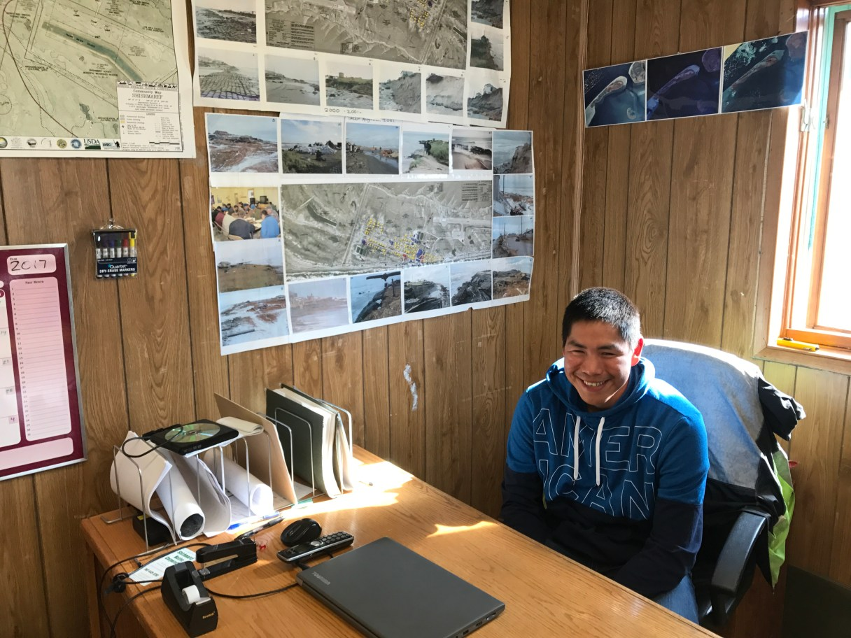 Corey Ningeulook sits at his desk in Shishmaref. He received the Bering Straits Native Corporation 2017 Young Providers Award.