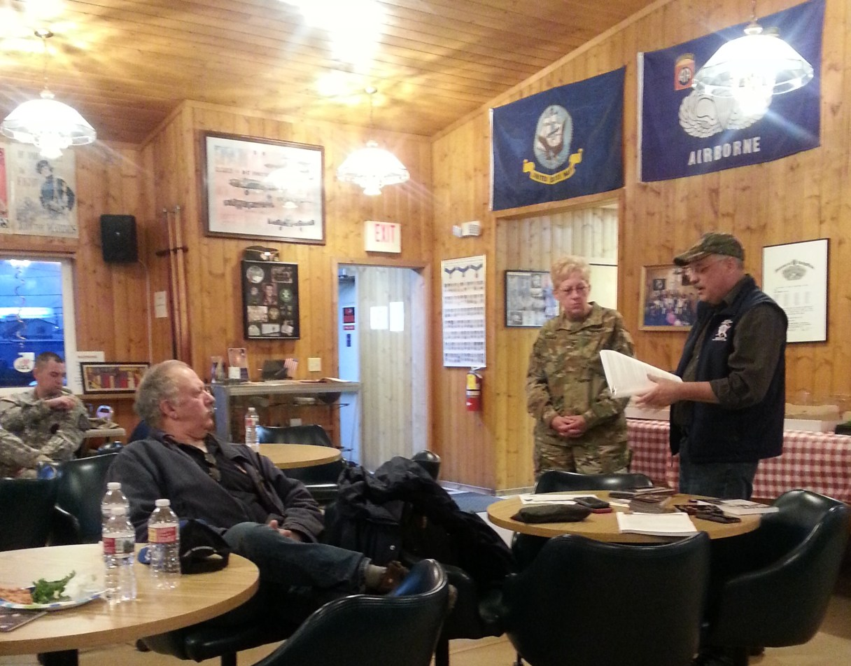 Major General Laurie Hummel with the DMVA and the Alaska National Guard stands beside Verdie Bowen during a public presentation at the VFW in Nome. Photo Credit: Davis Hovey, KNOM (2017)