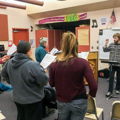 Gabe leads the Nome Community Chorus in rehearsal