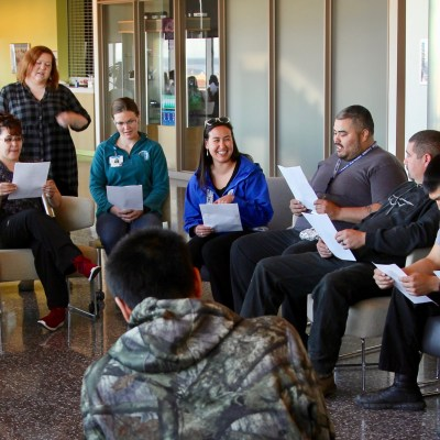 """Group of students seated at a session of Inupiaq class """"Ilisaqativut."""""""