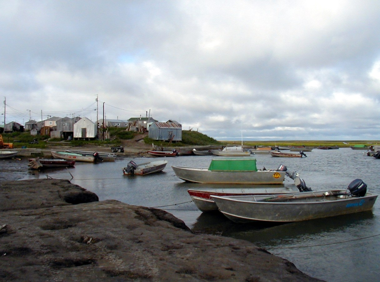 Small Alaska village on a cloudy summer day, with waterfront and fishing boats in foreground