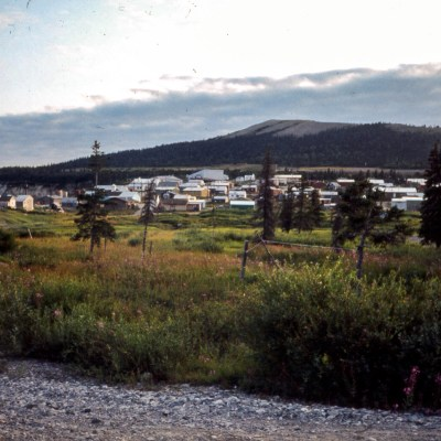 A landscape of an Alaska village in late evening.