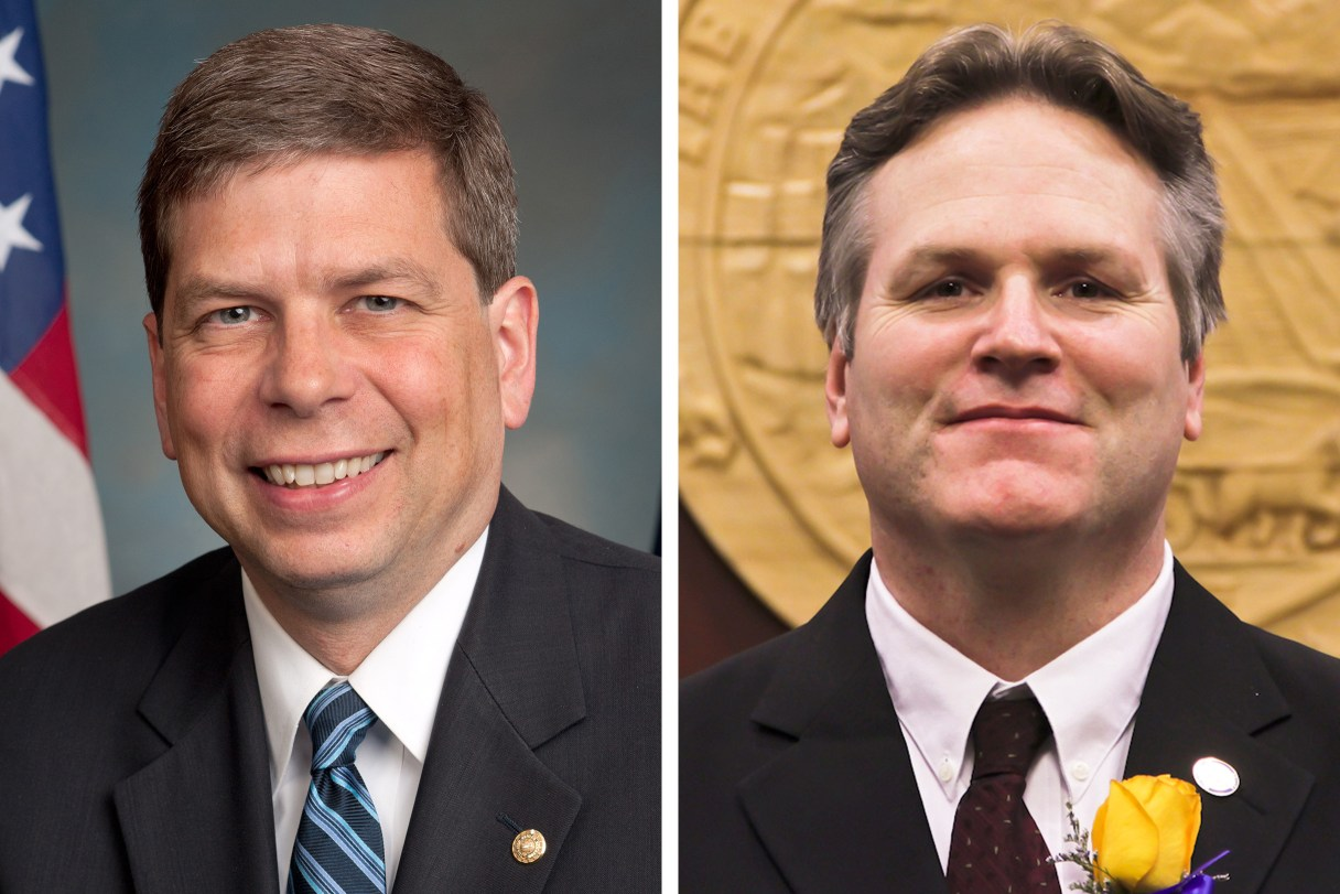 Side-by-side headshot-style portraits of Mark Begich and Mike Dunleavy, wearing jackets and ties.
