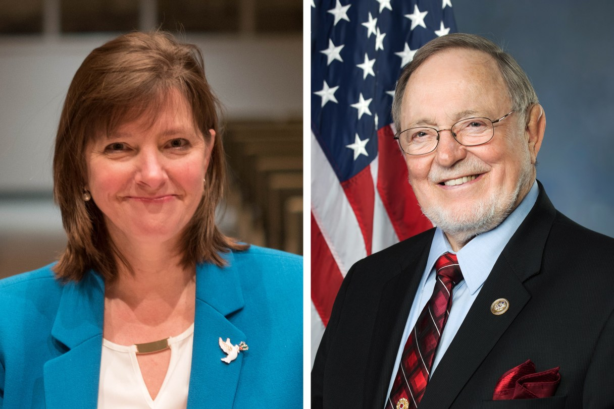 Side-by-side portraits of 2018 Alaska U.S. House candidates Alyse Galvin and Don Young.