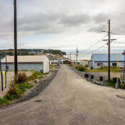 Looking down a street in a rural Alaska community