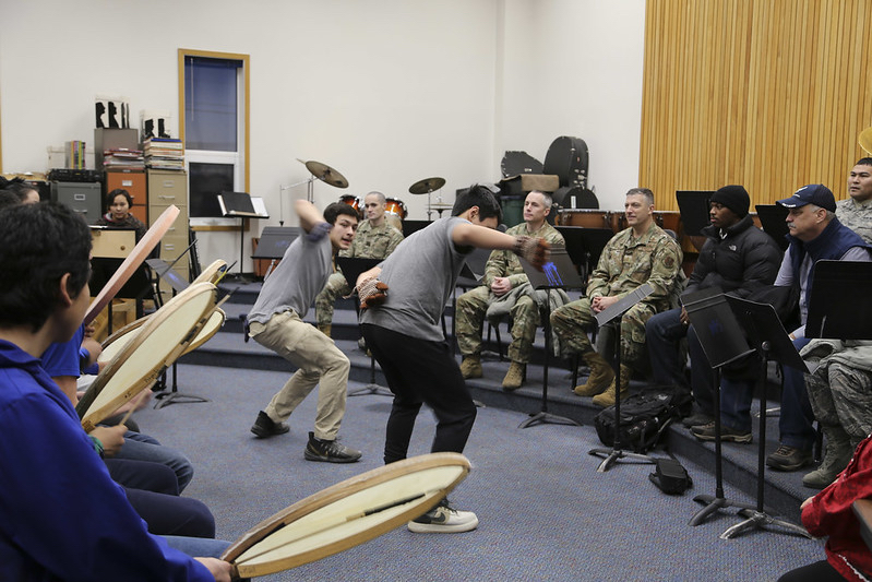 Nome-Beltz Jr/Sr High School students perform traditional Native dances and music for members of the Alaska National Guard. Photo from Lt. Col. Candis Olmstead, 2019.