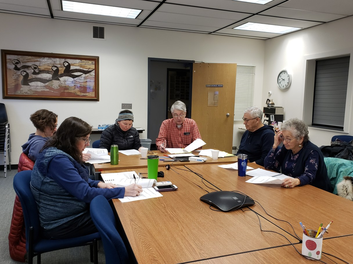 Members of the Public Safety Advisory Commission scrutinize interview questions for the Chief of Police candidates. Photo from Emily Hofstaedter, KNOM (2020)