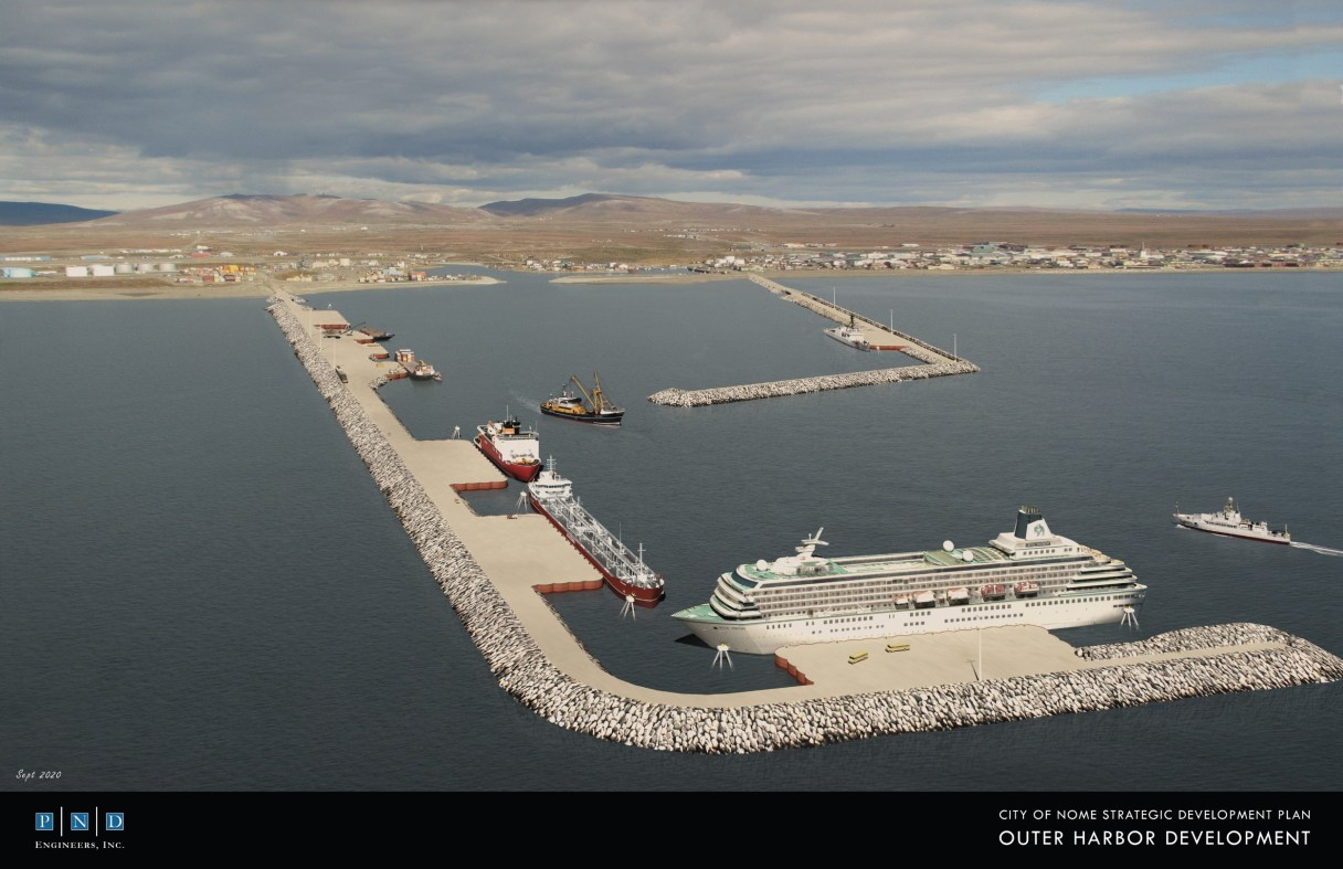 PND's updated model rendering for the design of a potential Arctic Deep Draft Port in Nome. Photo from Port of Nome, used with permission (2020).