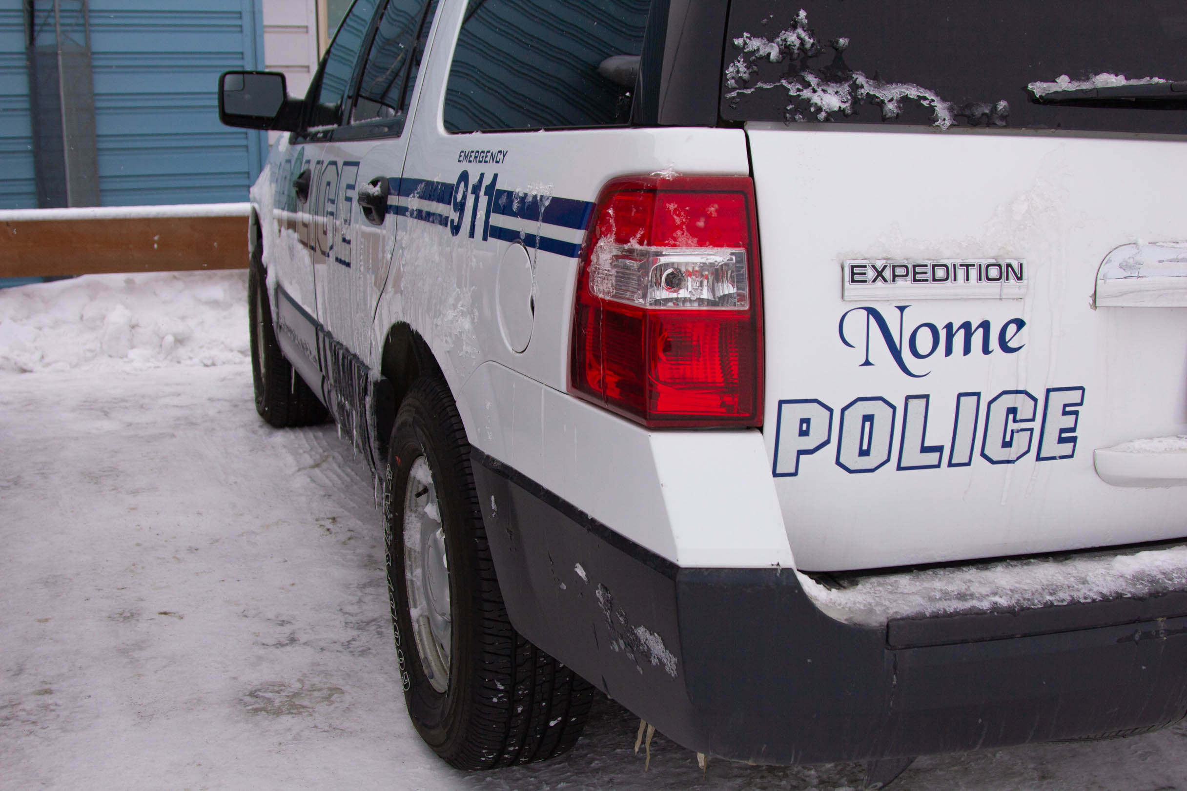 Backend of Nome police car.