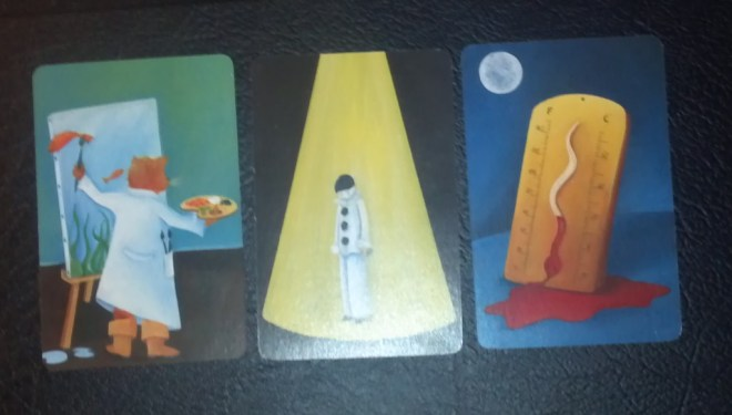 Three cards from original Dixit Game. Artist M.Cardouat