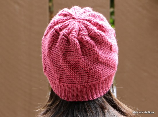Winter/Fall Seasonsed Pink Crochet 2 layer Twisted Hat / Beanie Free Pattern for an adult woman - kNot mY deSigns