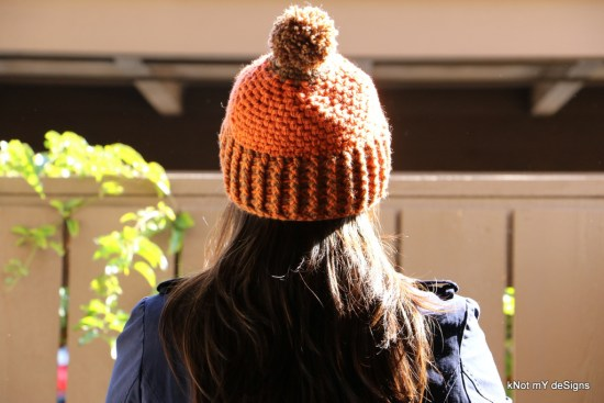 Winter/Fall Seasoned Crochet Ribbed Moss Hat Free Pattern for an adult woman - kNot mY deSigns