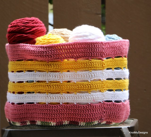 Crochet Free Multi-color Stash/Scrap Basket of Yarn Pattern with left over yarn. Best out of Waste.