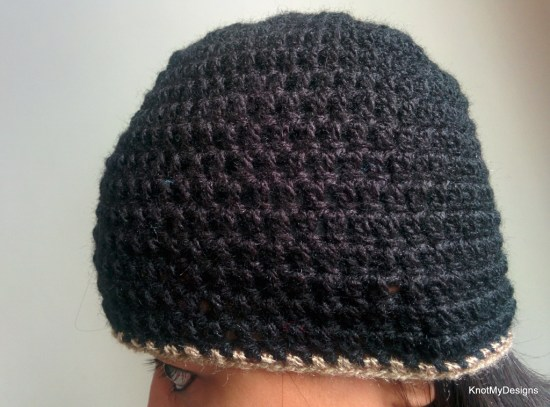 Winter/Fall Seasoned Crochet Basic Black Beanie Free Pattern for any adult - Knot My Designs