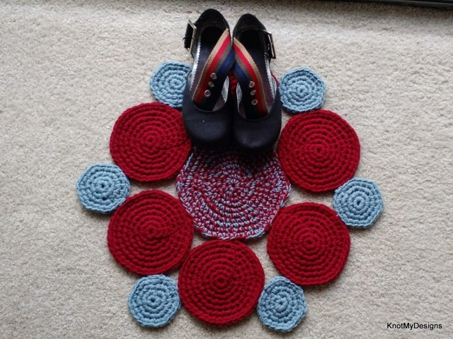 Crochet Free Circular Patched Floormat Pattern for your home - Knot My Designs