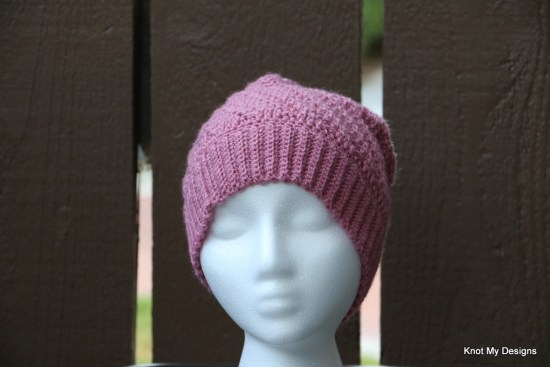 Winter/Fall Seasoned Crochet Mom-Daughter Textured Slouchy Hat Free Pattern - Knot My Designs