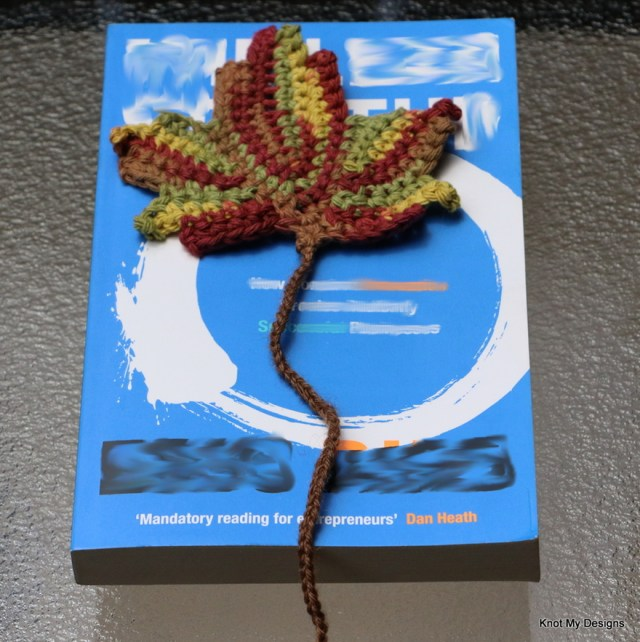 Crochet Maple Bookmark Free Pattern for a bookworm Nature Captured in Books Gallery - Knot My Designs