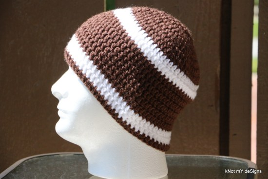Crochet Gramp's Football Theme Beanie free pattern for winter/fall season - Knot My Designs