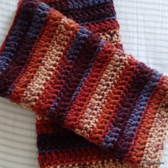 Crochet Simple Winter/Fall Season Fall Ombre Legwarmer Free Pattern for an adult woman - Knot My Designs