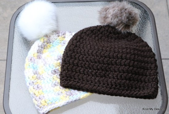 Winter/Fall Seasoned Crochet Fauxy Fur Pom Pom Hat for an adult woman - kNot mY deSigns