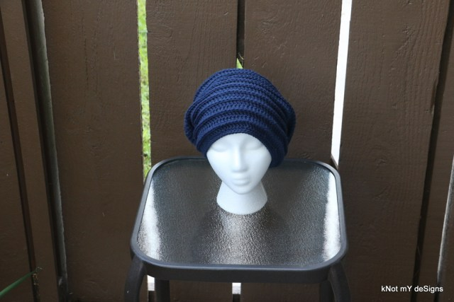 Winter/Fall Seasoned Crochet Blue Backpost Slouch Beanie Free Pattern for an adult woman - kNot mY deSigns