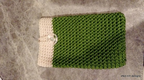 Crochet Half Herringbone Cell Phone Wristlet Pouch Free Pattern - Knot My Designs