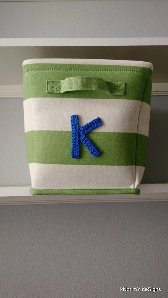 "Crochet Naming Alphabet ""K"" Applique on Basket for Home Decor - Knot My Designs"