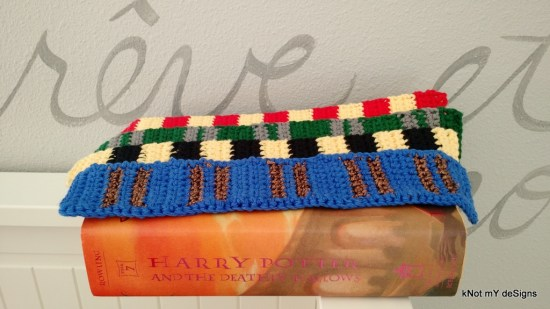 Crochet Harry Potter Hogwarts House Scarf Bookmark Free Pattern for Harry Potter Novel Series lover! - Knot My Designs