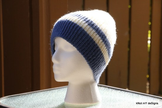 Winter/Fall Seasoned Crochet Denim Bosnian Striped Beanie for an adult woman - kNot mY deSigns