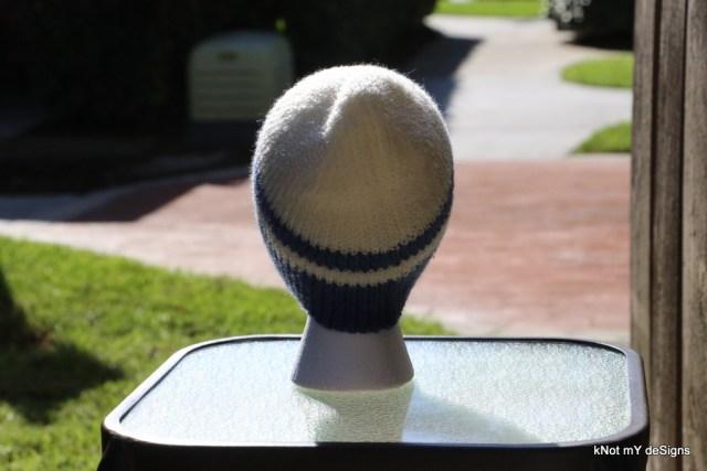 Winter/Fall Seasoned Crochet Denim Bosnian Striped Beanie for an adult woman - kNot mY deSigns