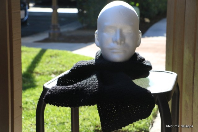 Winter/Fall Seasoned Crochet Two Faced Black Scarf for everyone - kNot mY deSigns
