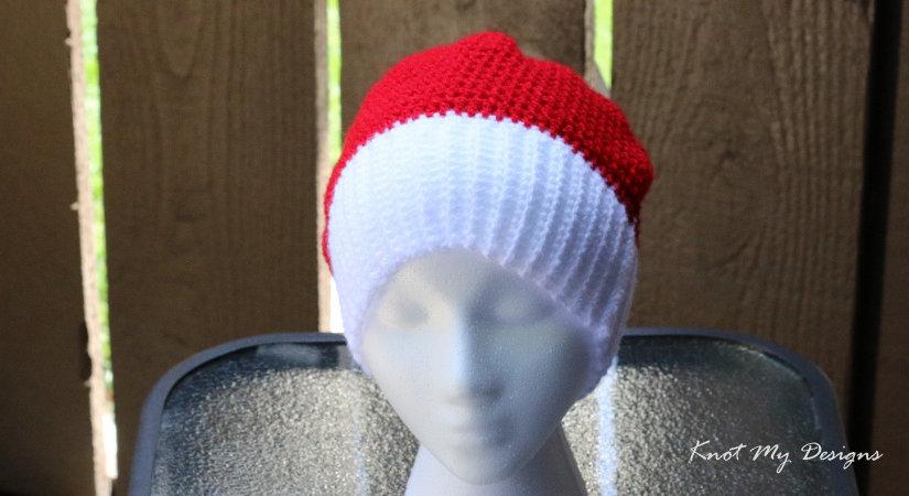 KMD FWP Crochet Cherry Wherry Slouch Santa Hat