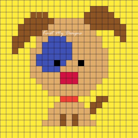 Crochet C2C Blue Patch Dog Grid Graph / Corner-to-corner Blue Patch Dog Graph Ear Up - Knot My Designs