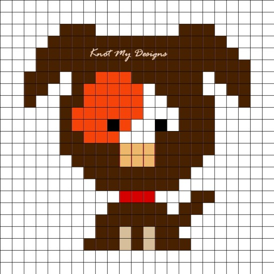 Crochet C2C Orange Patch Dog Grid Graph / Corner-to-corner Orange Patch Dog Graph Ear Down - Knot My Designs