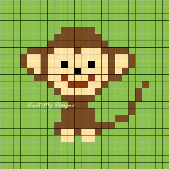 Crochet C2C Monkey Grid Graph 25x25 / Corner-to-corner Monkey Pixel Graph 25x25
